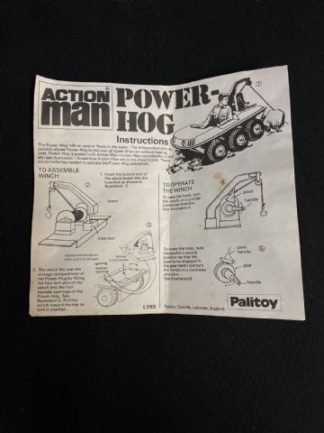 VINTAGE ACTION MAN - POWER HOG INSTRUCTION LEAFLET